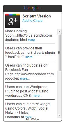 Google Plus Activity Feed Widget