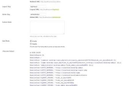 Hide Login plugin for WordPress