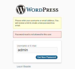 Prevent Password Reset
