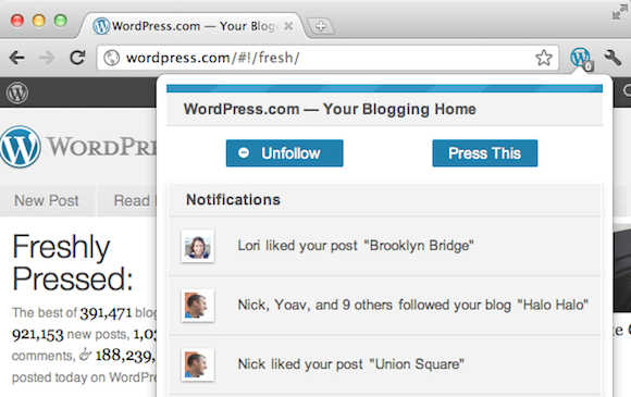 WordPress.Com Google Chrome Extension