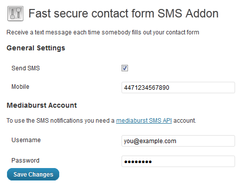 Fast Secure Contact Form SMS Addon