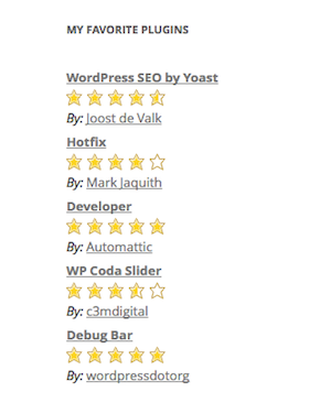 Favorite Plugins Widget