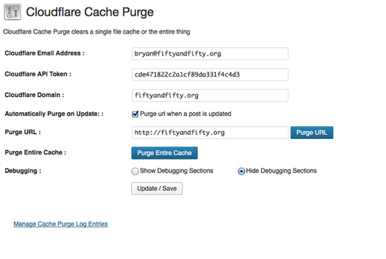 Cloudflare Cache Purge WordPress