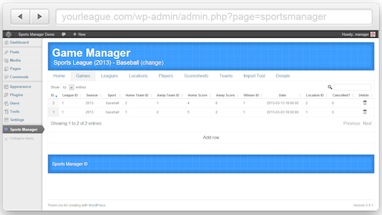 Sports Manager for WordPress