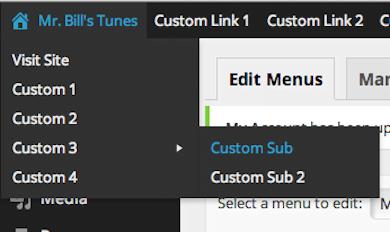 WordPress Admin Toolbar Menus
