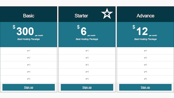 Minimal Responsive Pricing Table Plugin