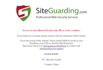 WP GEO Website Protection Visitor blocked page
