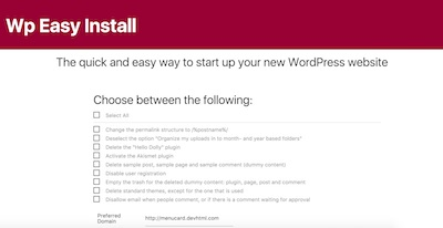 Wp Easy Install WordPress Plugin
